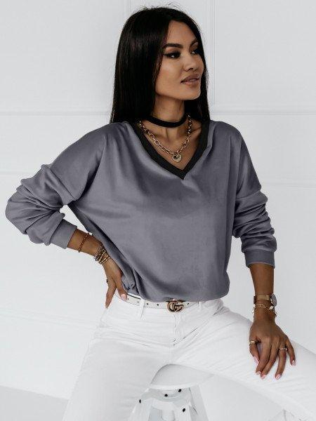Welurowa bluza z dekoltem EVERY DAY - szary