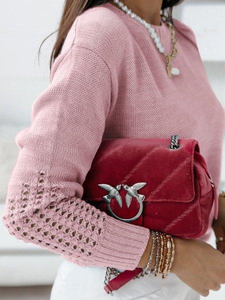 Sweterkowa tunika sweterek LILIANA - pudrowy róż