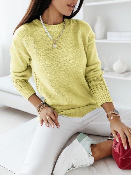 Sweterkowa tunika sweterek LILIANA - żółty