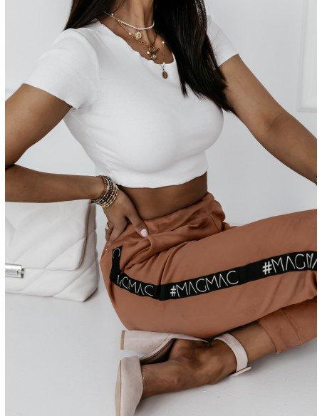 Welurowe spodnie dresowe Alessia- karmel