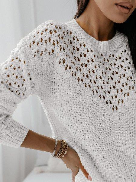 Ażurowy sweter z wycięciami GENEVA - biały