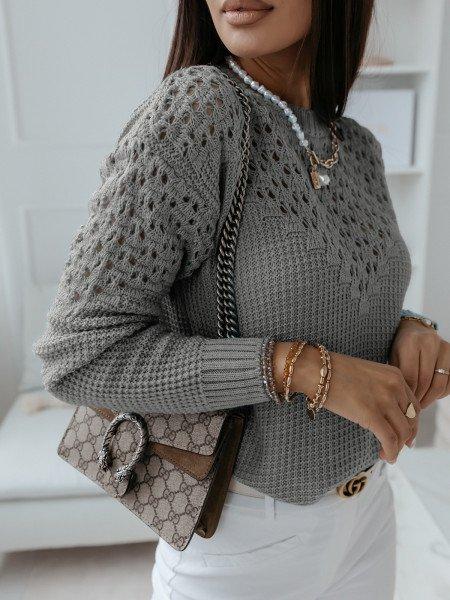 Ażurowy sweter z wycięciami GENEVA - szary
