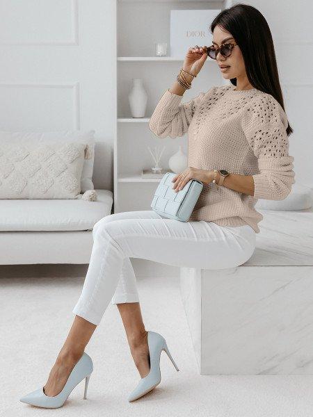 Ażurowy sweter z wycięciami GENEVA - beżowy