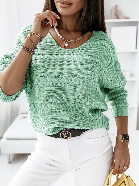 Sweter z dłuższym tyłem MARIETA- mięta