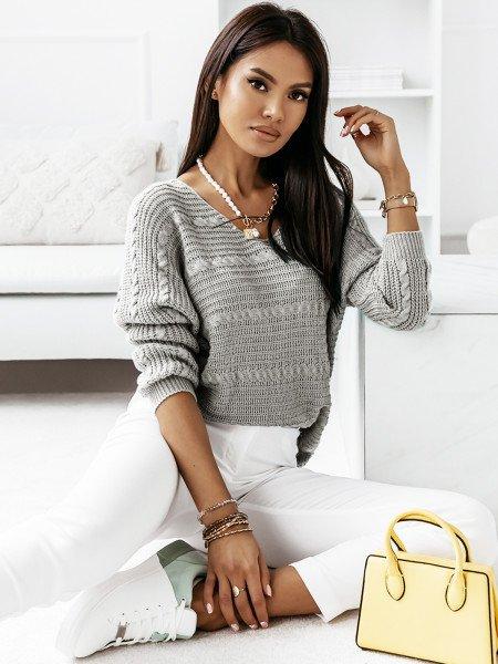 Sweter z dłuższym tyłem MARIETA- szary