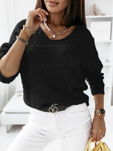 Sweter z dłuższym tyłem MARIETA- czarny