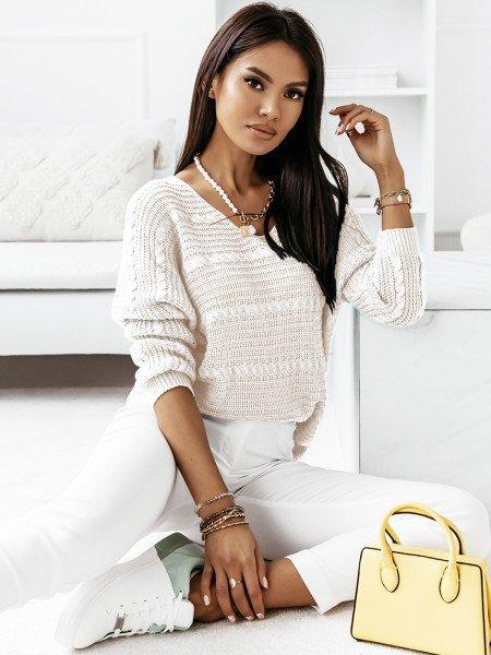 Sweter z dłuższym tyłem MARIETA- biały
