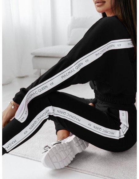 Komplet sportowy spodnie + bluza RIBBON - czerń