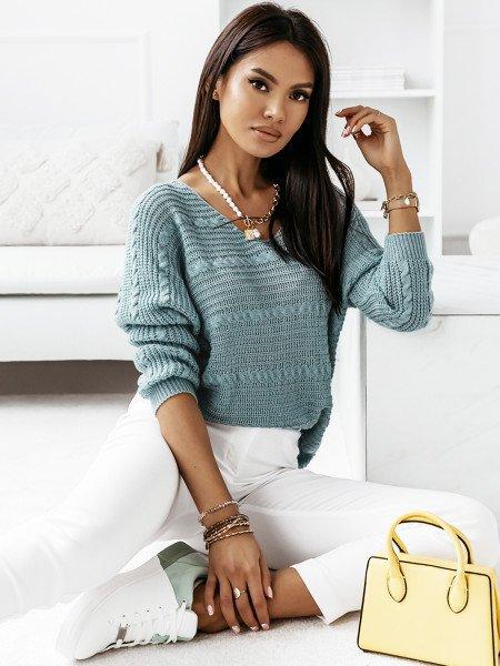 Sweter z dłuższym tyłem MARIETA- błękitny