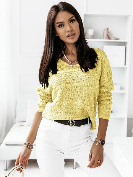 Sweter z dłuższym tyłem MARIETA- cytrynowy