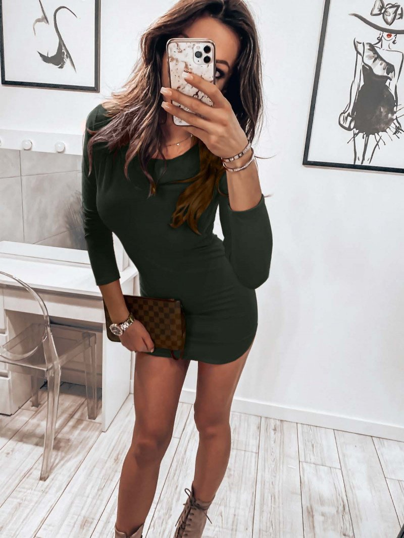Dopasowana seksowna sukienka RESSE - khaki
