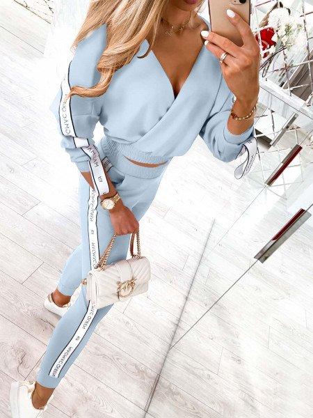 Komplet sportowy spodnie + bluza RIBBON - błękitny