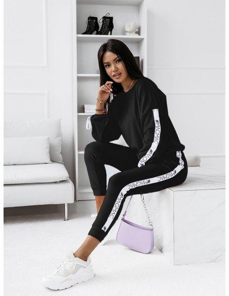 Welurowy komplet bluza+spodnie WALIA- czarny
