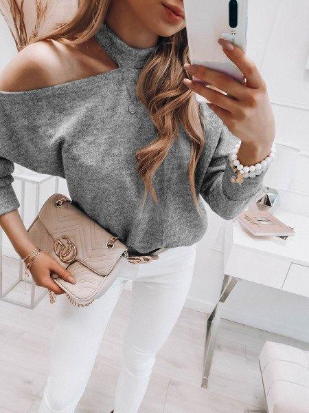 Bluzka sweterek z wycięciem na ramieniu - LUNA - szary melanż