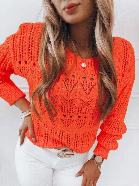 Ażurowy sweter z dekoltem w łódkę MORIA - neonowy orange