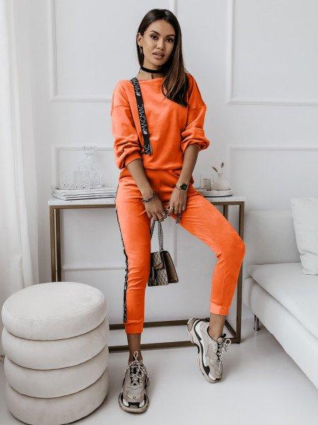 Welurowy dres z lampasem RITA - orange neon