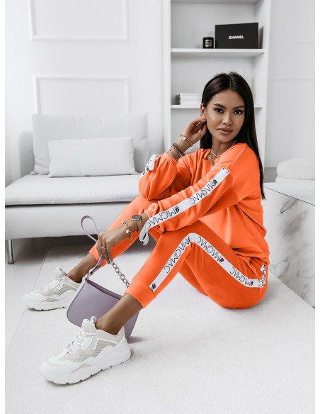 Welurowy komplet bluza+spodnie WALIA- orange neon