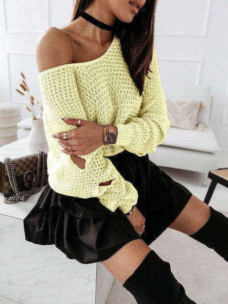 Pleciony sweter z rozcięciami ASHLEY - cytrynowy